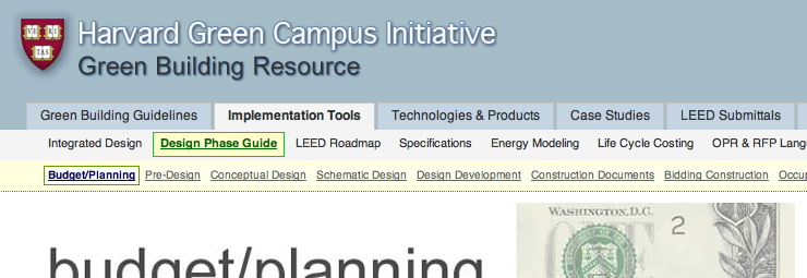 Designed and developed Web resource/application from concept, with careful attention to user interface, information architecture, and accessibility for all Harvard internal and external partners. This resource houses the broad base of knowledge the Green Campus team has acquired over the last 8 years on green building and sustainability.